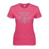 Ladies Fuchsia T Shirt-WSSU Ram Rhinestones