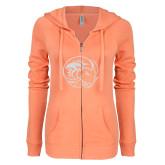 ENZA Ladies Coral Light Weight Fleece Full Zip Hoodie-C White Soft Glitter