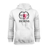 White Fleece Hoodie-Horn$