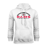White Fleece Hoodie-Football Horizontal Stacked