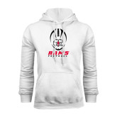 White Fleece Hoodie-Football Vertical Stacked