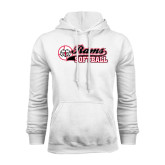 White Fleece Hoodie-Softball Script w/ Ball