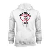 White Fleece Hoodie-Softball Diamond and Seams