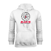 White Fleece Hoodie-Rams Volleyball Stacked