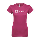 Ladies SoftStyle Junior Fitted Fuchsia Tee-Ram WSSU
