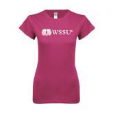 Ladies SoftStyle Junior Fitted Fuchsia Tee-Ram WSSU
