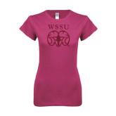 Ladies SoftStyle Junior Fitted Fuchsia Tee-WSSU Ram