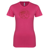Ladies SoftStyle Junior Fitted Fuchsia Tee-N Red Glitter