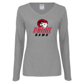 Ladies Grey Long Sleeve V Neck Tee-WSSU Rams