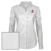 Ladies Red House Diamond Dobby White Long Sleeve Shirt-WSSU Rams