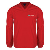 V Neck Red Raglan Windshirt-Ram WSSU