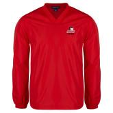 V Neck Red Raglan Windshirt-WSSU Rams