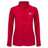 Ladies Fleece Full Zip Red Jacket-Ram Head