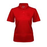 Ladies Red Dry Mesh Polo-WSSU Ram