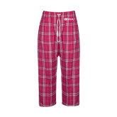Ladies Dark Fuchsia/White Flannel Pajama Pant-Ram WSSU