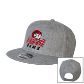 Heather Grey Wool Blend Flat Bill Snapback Hat-WSSU Rams