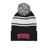 Black/White Two Tone Knit Pom Beanie w/Cuff-Arched WSSU