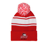 Red/White Two Tone Knit Pom Beanie w/Cuff-WSSU Rams