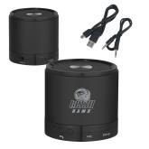 Wireless HD Bluetooth Black Round Speaker-WSSU Rams Engraved