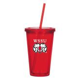 Madison Double Wall Red Tumbler w/Straw 16oz-WSSU Ram