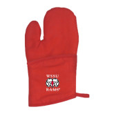 Quilted Canvas Red Oven Mitt-Stacked WSSU Rams