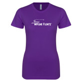Next Level Ladies SoftStyle Junior Fitted Purple Tee-Wipline Floats