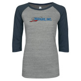 ENZA Ladies Athletic Heather/Navy Vintage Baseball Tee-Wipaire Inc