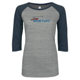 ENZA Ladies Athletic Heather/Navy Vintage Baseball Tee-Wipline Floats