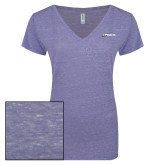ENZA Ladies Surfer Blue Melange V Neck Tee-Wipaire Inc