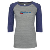 ENZA Ladies Athletic Heather/Blue Vintage Baseball Tee-Wipaire Inc