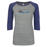 ENZA Ladies Athletic Heather/Blue Vintage Baseball Tee-Wipline Floats