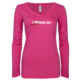 ENZA Ladies Hot Pink Long Sleeve V Neck Tee-Wipaire Inc