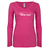 ENZA Ladies Hot Pink Long Sleeve V Neck Tee-Wipline Floats