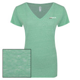 ENZA Ladies Seaglass Melange V Neck Tee-Wipaire Inc