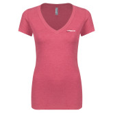 Next Level Ladies Vintage Pink Tri Blend V Neck Tee-Wipaire Inc