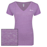 ENZA Ladies Violet Melange V Neck Tee-Wipline Floats