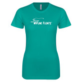 Next Level Ladies SoftStyle Junior Fitted Tahiti Blue Tee-Wipline Floats