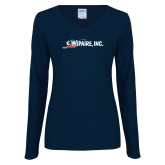 Ladies Navy Long Sleeve V Neck Tee-Wipaire Inc