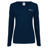 Ladies Navy Long Sleeve V Neck Tee-Wipline Floats