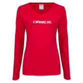 Ladies Red Long Sleeve V Neck Tee-Wipaire Inc