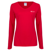 Ladies Red Long Sleeve V Neck Tee-Wipline Floats