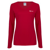 Ladies Cardinal Long Sleeve V Neck Tee-Wipline Floats