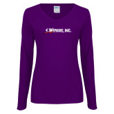 Ladies Purple Long Sleeve V Neck Tee-Wipaire Inc