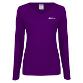 Ladies Purple Long Sleeve V Neck Tee-Wipline Floats