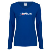 Ladies Royal Long Sleeve V Neck Tee-Wipaire Inc