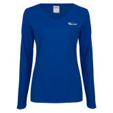 Ladies Royal Long Sleeve V Neck Tee-Wipline Floats