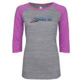 ENZA Ladies Athletic Heather/Violet Vintage Baseball Tee-Wipaire Inc