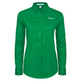 Ladies Kelly Green Twill Button Down Long Sleeve-Wipline Floats