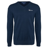 Classic Mens V Neck Navy Sweater-Wipline Floats