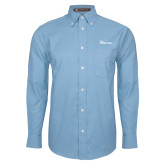 Mens Light Blue Oxford Long Sleeve Shirt-Wipline Floats